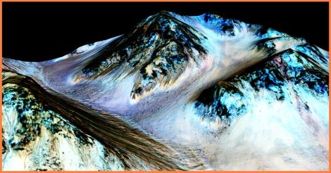 Detalles de un RSL. Posible ciclo del agua en Marte. Crédito NASA