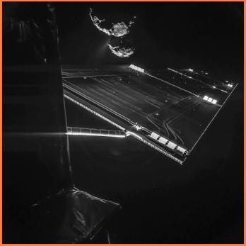 Selfi de Rosetta acercándose a 67P. Crédito ESA