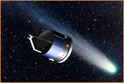 Re`presentación artística del acercamiento de la Giotto al cometa Halley