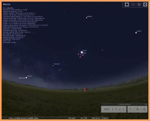 Simulación con Stellarium